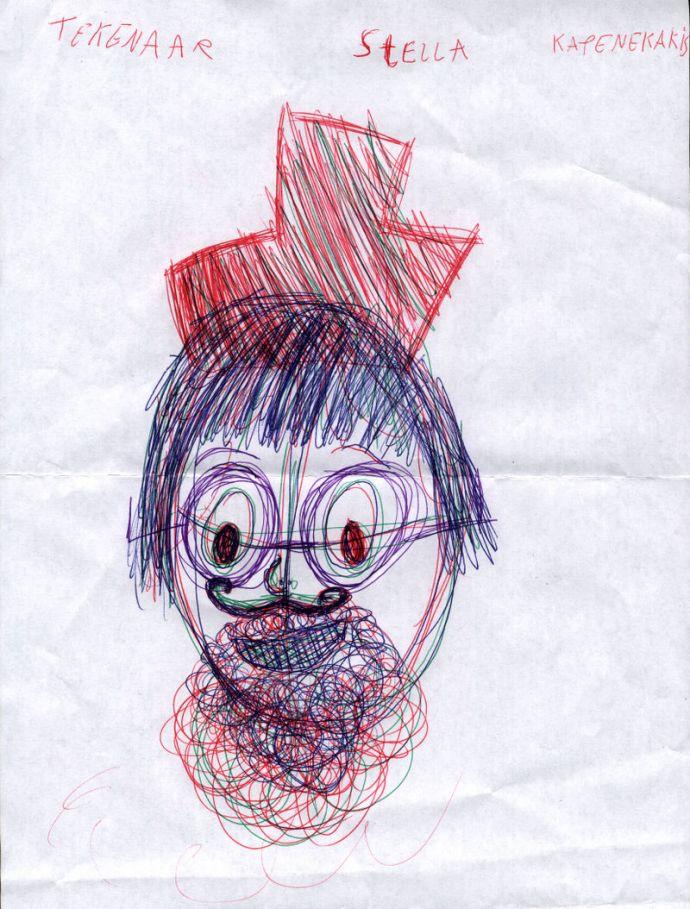 Ζωγραφιά της μικρής Στέλλας Καπενεκάκη από το Maasmechelen του Βελγίου που απεικονίζει τον παραμυθά Χρήστο Τσίρκα (σύμφωνα με την ίδια)