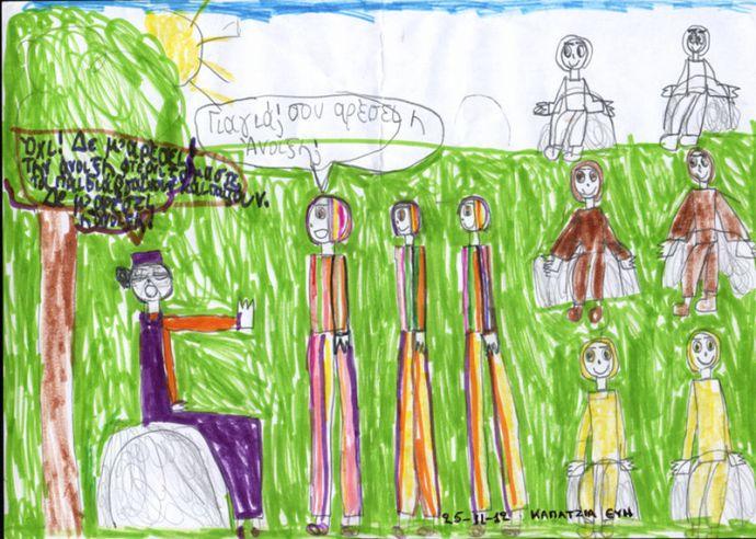Ζωγραφιά της Εύης Καπατζιά, εμπνευσμένη από το παραμύθι της προφορικής παράδοσης «Οι 12 μήνες»