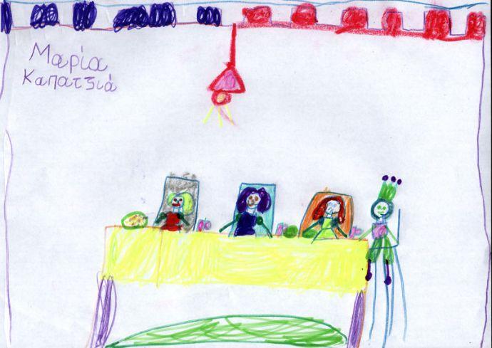 """Ζωγραφιά της Μαρίας Καπατζιά εμπνευσμένη από το παραμύθι """"ο βασιλιάς, οι τρεις κόρες του και το αλάτι""""."""