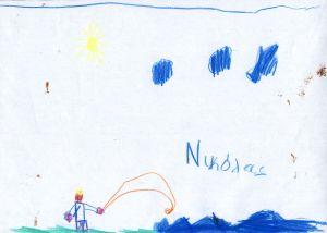 """Ζωγραφιά του μικρού Νικόλα, εμπνευσμένη από το παραμύθι """"Ο ψαράς και το χρυσόψαρο""""."""