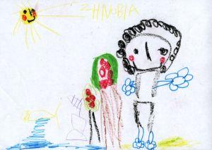 """Ζωγραφιά της μικρής μας παραμυθούς Ζηνοβίας, εμπνευσμένη από το παραμύθι """"Ο ψαράς και το χρυσόψαρο"""""""
