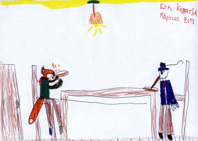 """Ζωγραφιά της φίλης μας Εύης εμπνευσμένη από το παραμύθι """"Η αλεπού και ο πελαργός""""."""