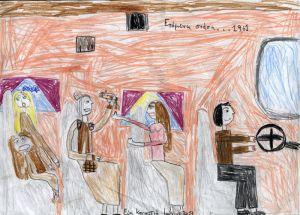 """Ζωγραφιά της Εύης εμπνευσμένη από την εκδήλωση που ετοιμάζουμε με τίτλο """"Επόμενη στάση...1961"""" σε κείμενο-διαλόγους της Γιούλης Αποκατανίδου."""