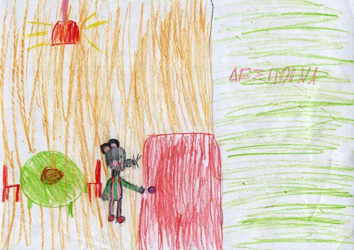 """Η Δέσποινα ζωγράφισε εμπνευσμένη από τον μύθο """"Ο ποντικός του αγρού και ο ποντικός της πόλης""""."""