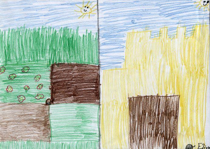 """Η Ελένη ζωγράφισε εμπνευσμένη από τον μύθο  """"Ο ποντικός του αγρού και ο ποντικός της πόλης""""."""