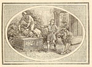 """Έργο του Roger L'Estrange (1616-1704), εμπνευσμένο από τον μύθο του Αισώπου """"Άνθρωπος και λιοντάρι"""""""