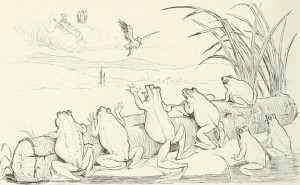 """Χαρακτικό του Randolph Caldecott (1846-86) εμπνευσμένο από τον μύθο του Αισώπου """"Οι βάτραχοι που ζητούσαν βασιλιά"""""""