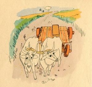 """Έργο του Fulvio Bianconi το 1946, εμπνευσμένο από τον μύθο του Αισώπου """"Βόδια και κάρο"""""""
