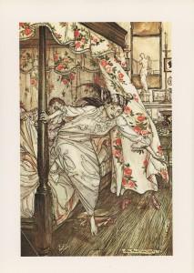 """Έργο του Arthur Rackham (1867-1939) εμπνευσμένο από τον μύθο του Αισώπου """"Γάτα και Αφροδίτη"""""""