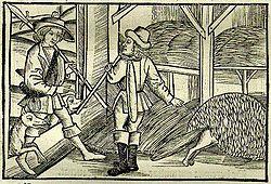 """Σχέδιο του Sebastian Brant (1457-1521) εμπνευσμένο από τον μύθο του Αισώπου """"Αλεπού και ξυλοκόπος""""."""