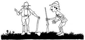 """Έργο του Arthur Rackham (1912) εμπνευσμένο από τον μύθο του Αισώπου """"Ο δειλός κυνηγός και ο ξυλοκόπος""""."""