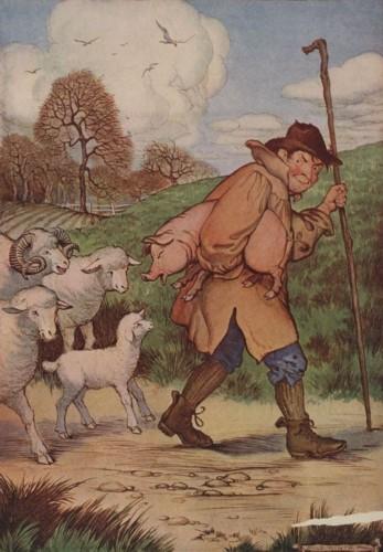 """Έργο του Milo Winter (1886-1956) εμπνευσμένο από τον μύθο του Αισώπου """"Γουρούνι και πρόβατα"""""""
