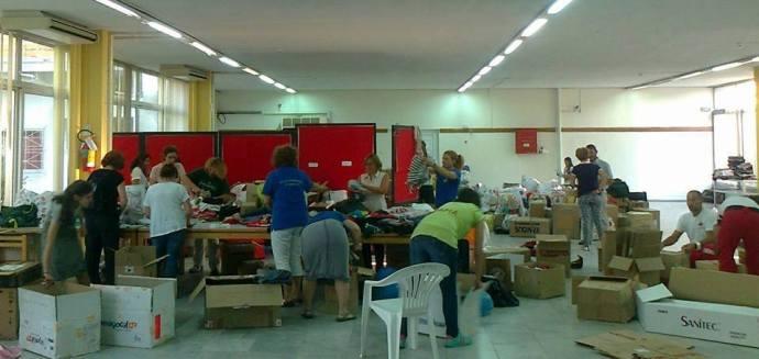 Παραλλαβή και διαχωρισμός των αγαθών από εθελοντές της διασυλλογικής ομάδας