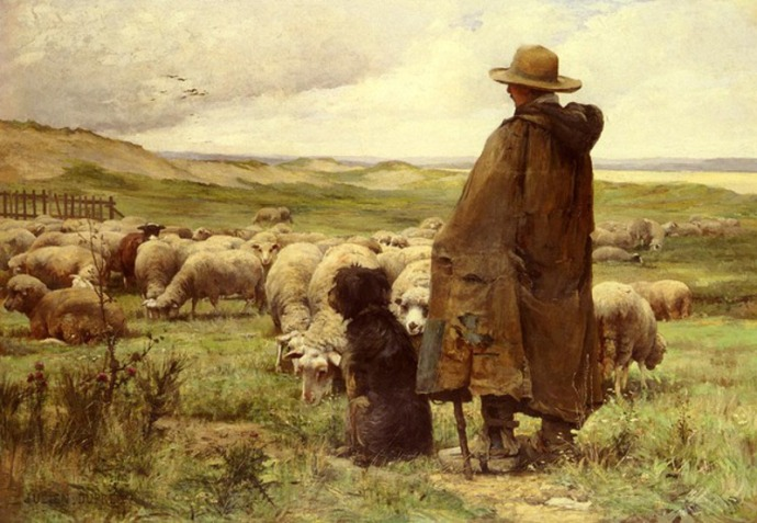 «The Shepherd». Πίνακας του Julien Dupré (1851-1910)
